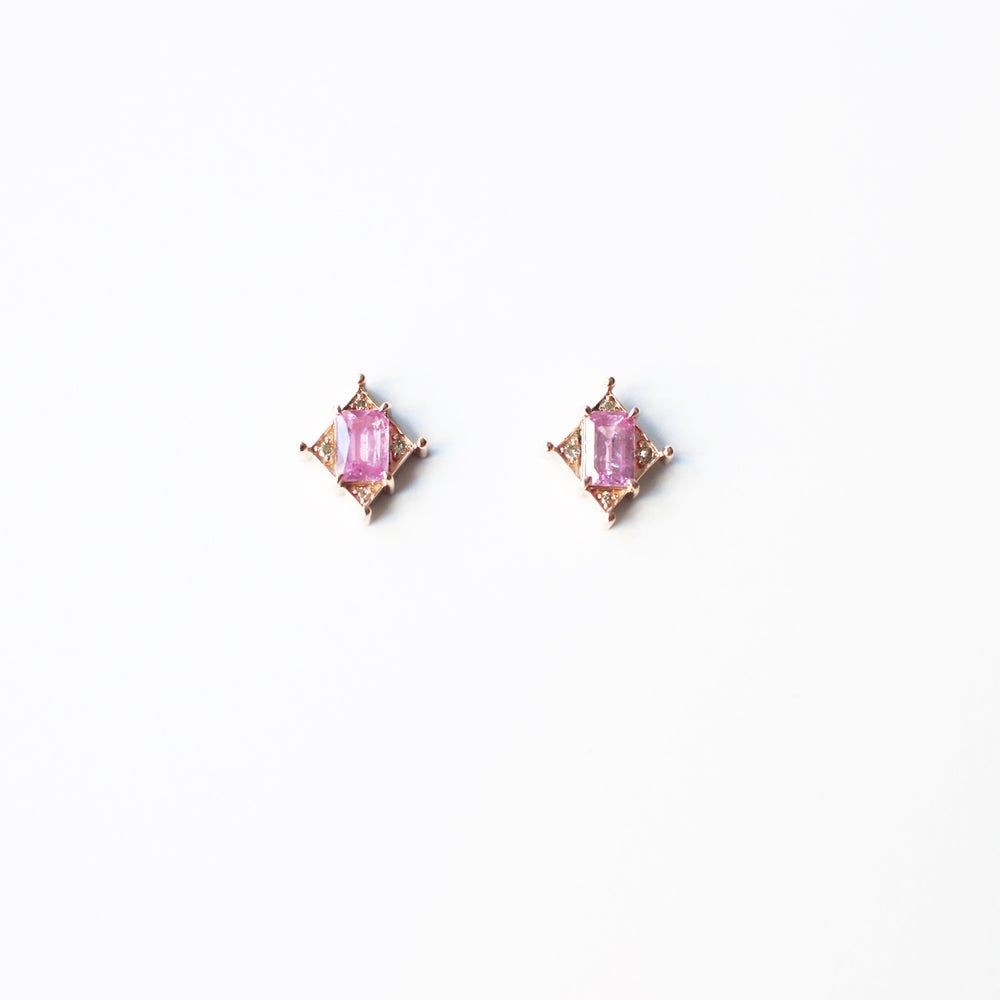 Image of Art Deco Pink Sapphire Earring