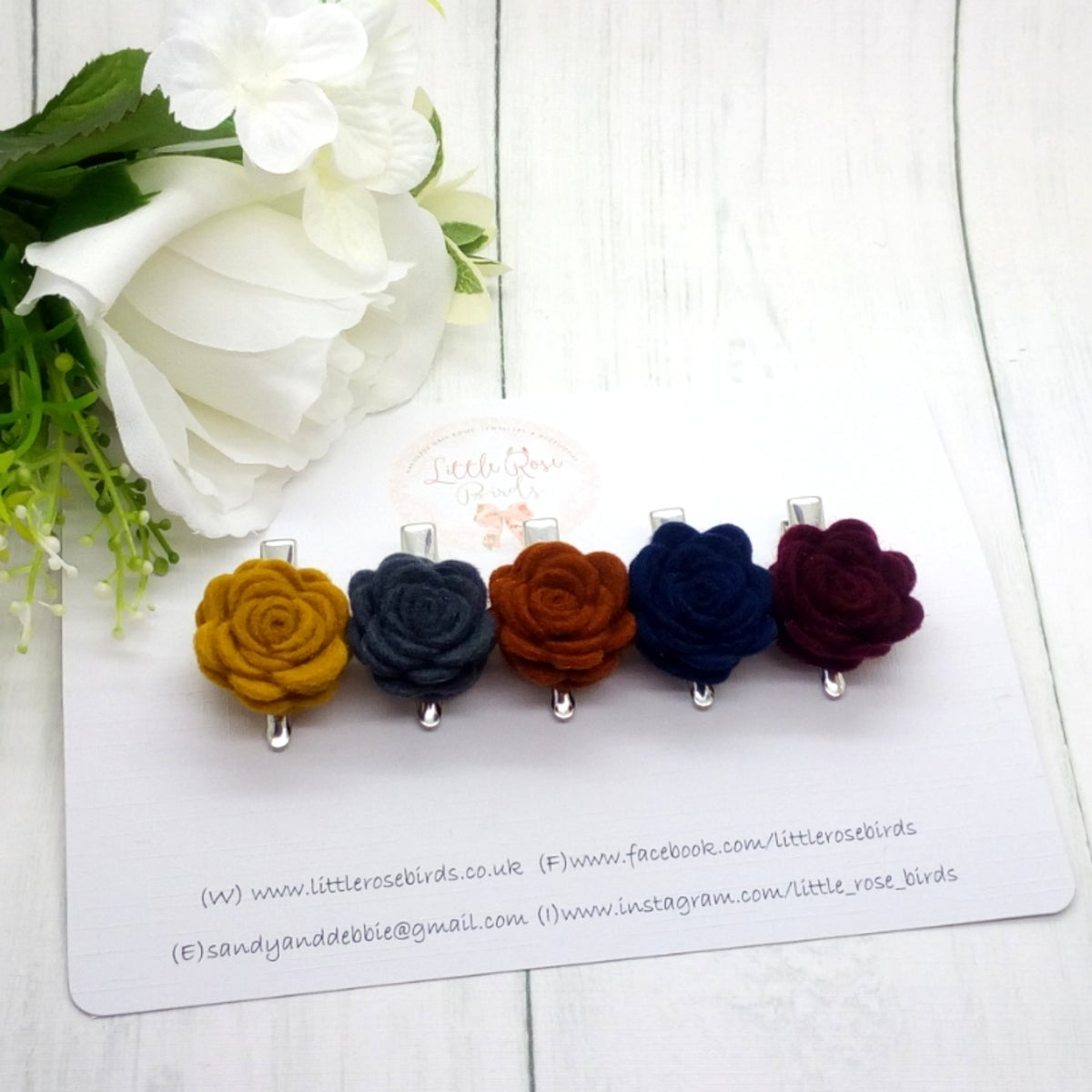 Image of SET OF 5 - Autumn Rose Clip Set