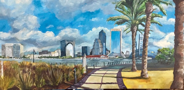 Image of LL0020 Jacksonville From the Southbank - Original Acrylic