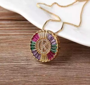Image of Small Colorful Initial Necklace