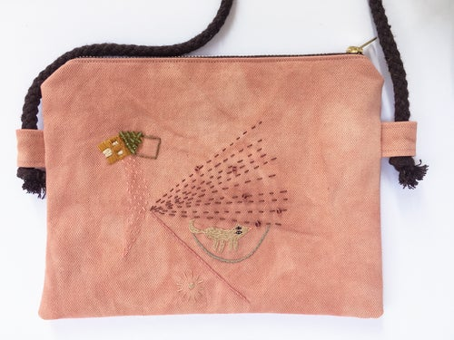 Image of Going home- hand embroidered + hand beaded bag, made of organic cotton fabric (plant dyed by Kaliko)