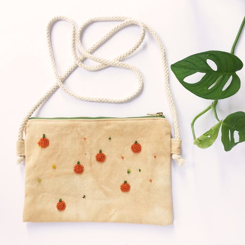 Image of Oranges - hand beaded bag, made of organic cotton fabric (plant dyed by Kaliko)
