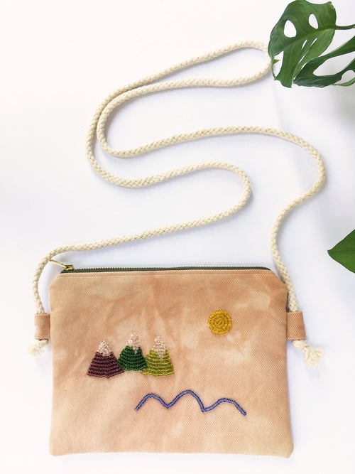 Image of By the Lake - hand beaded bag, made of organic cotton fabric (plant dyed by Kaliko)