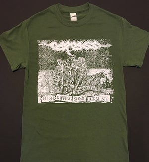 "Image of Carcass "" Flesh Ripping Sonic Torment "" Green T shirt"