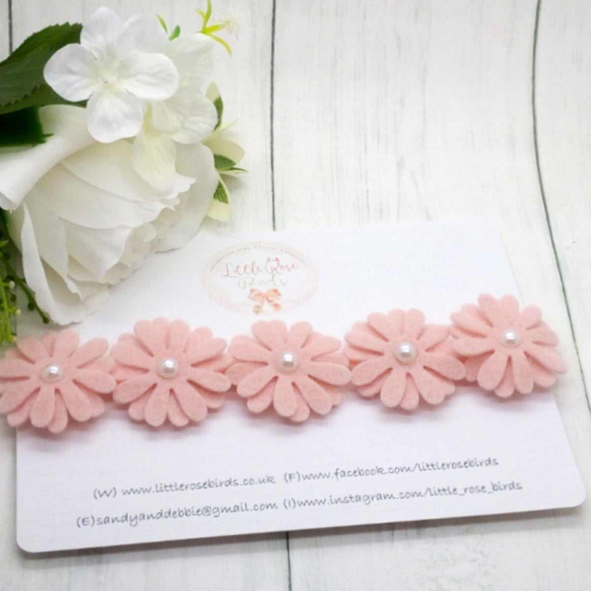 Image of Blush Pink & Pearl Daisy Headband - Choice of 1, 3 or 5 Daisies