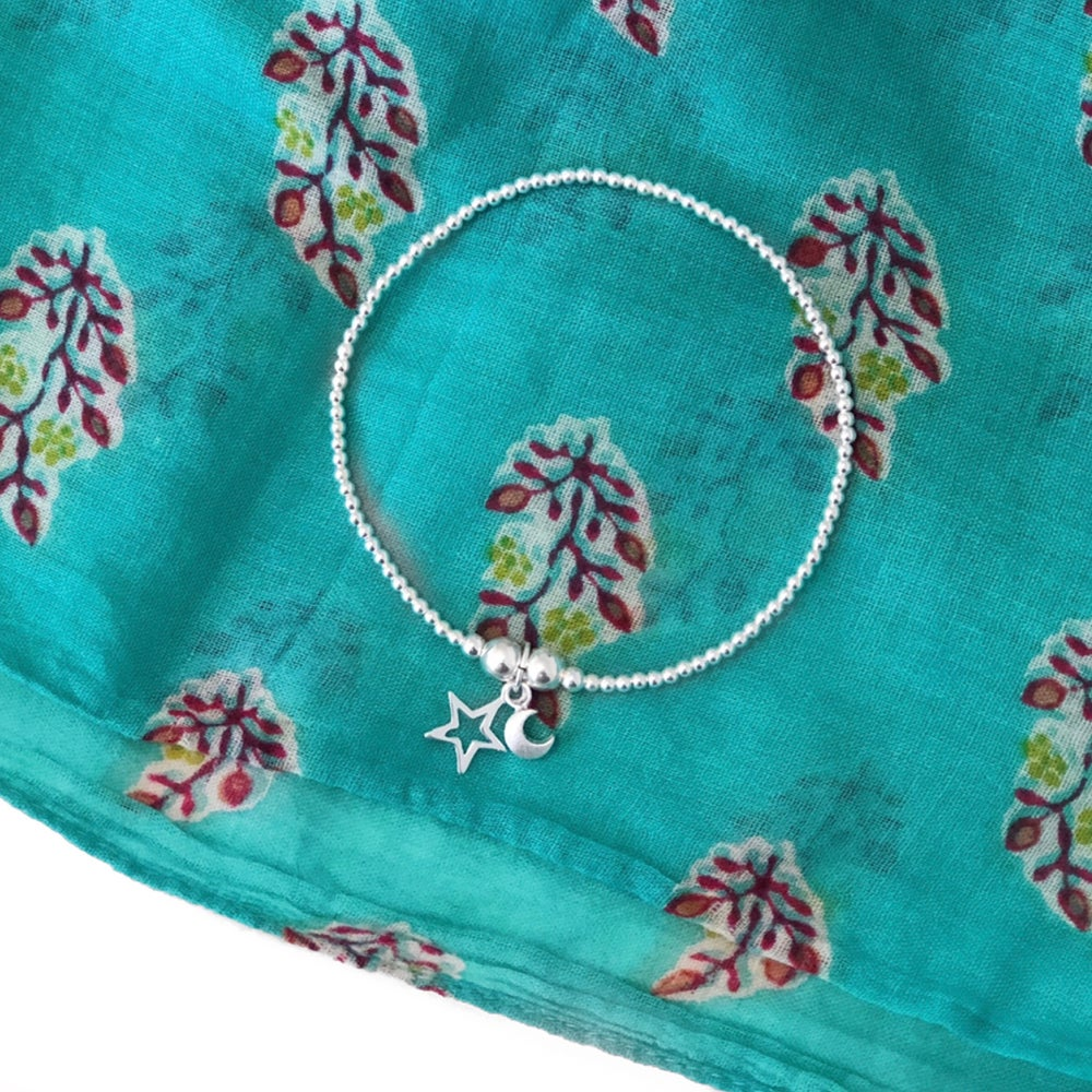 Image of Sterling Silver Star & Moon Charm Bracelet