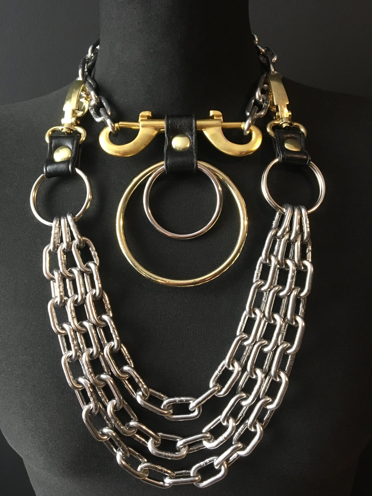 Double ring necklace silver and gold
