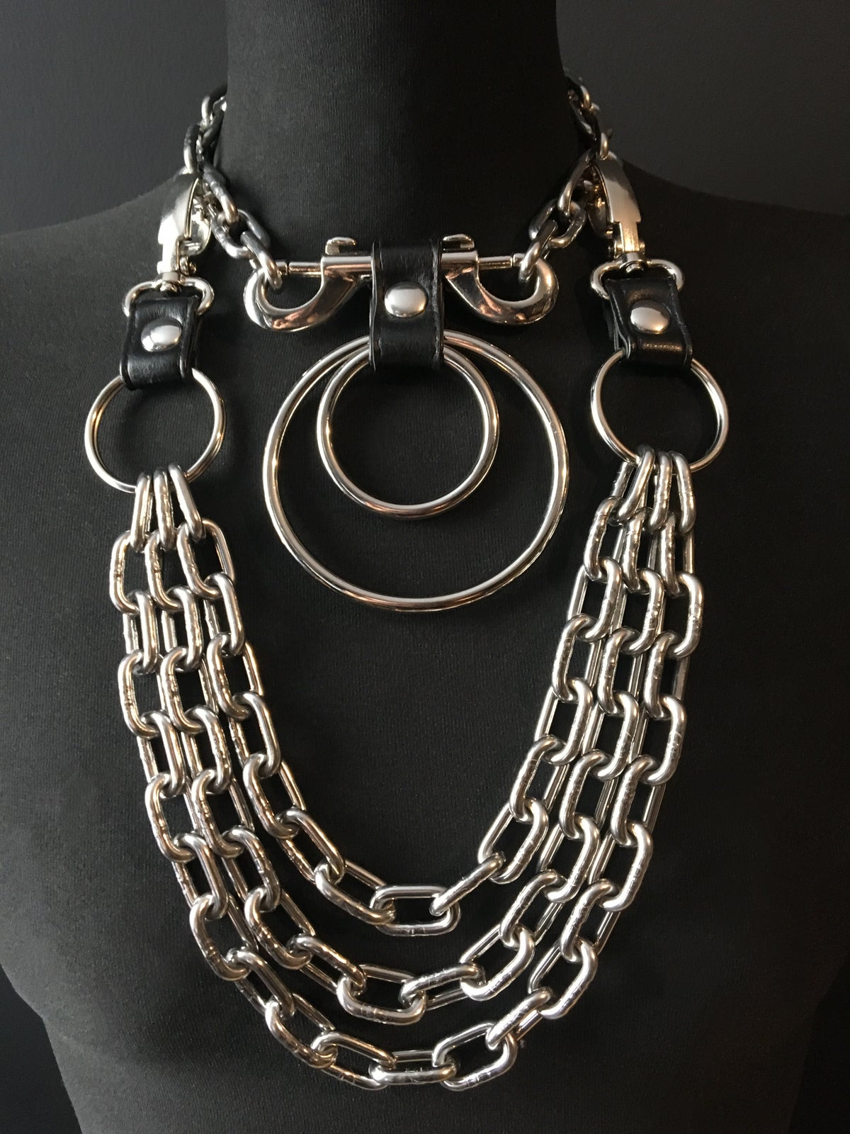 Double ring necklace silver