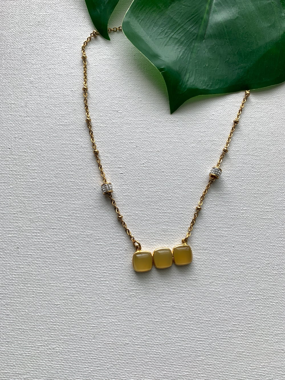 Image of GOLDEN HONEY Limited Ed.• Triple Yellow Chalcedony Bar Necklace