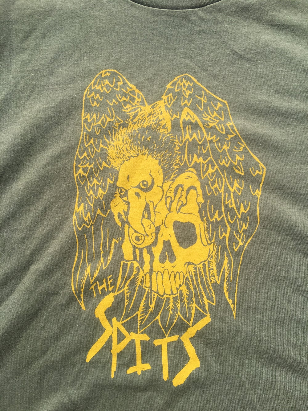 Image of OLIVE GREEN SHIRT GOLD VULTURE SHIRT