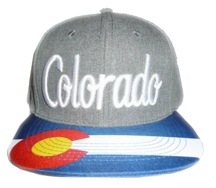Image of COLORADO STATE SNAPBACK HAT GREY WITH EMBROIDERED FRONT AND PRINTED BRIM