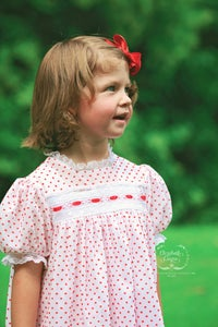 Image of 4T Ready-To-Ship Christmas Dotted Swiss 'Sutherland' Heirloom Dress & Bubble