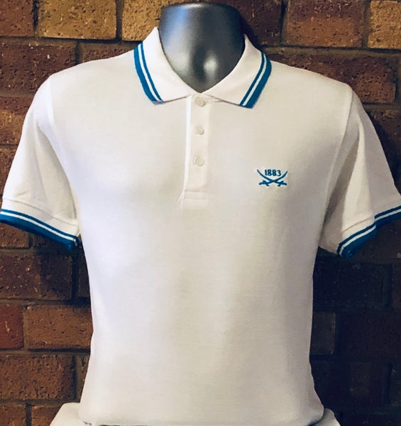 Image of White and Aqua Short Sleeved Polo Shirt