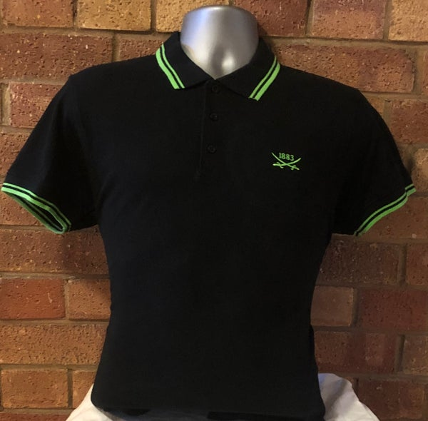 Image of Black and Green Short Sleeved Polo Shirt