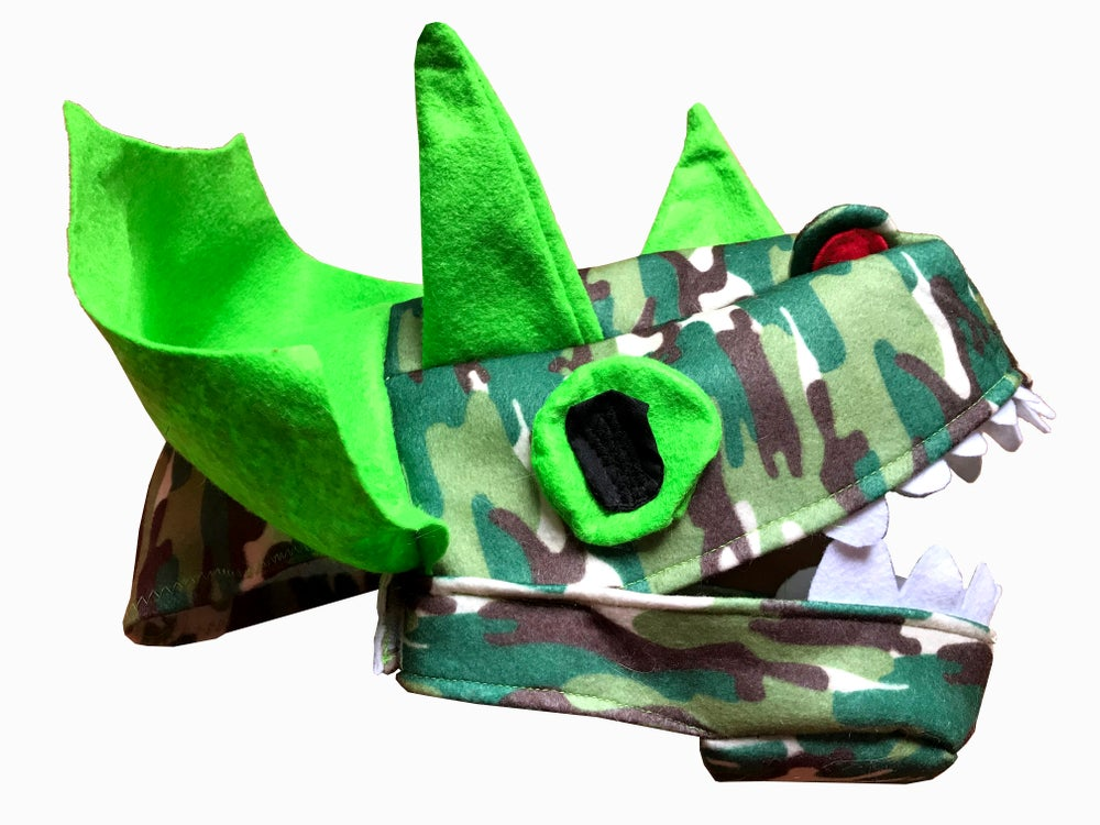 Image of Green Triceratops Hat!