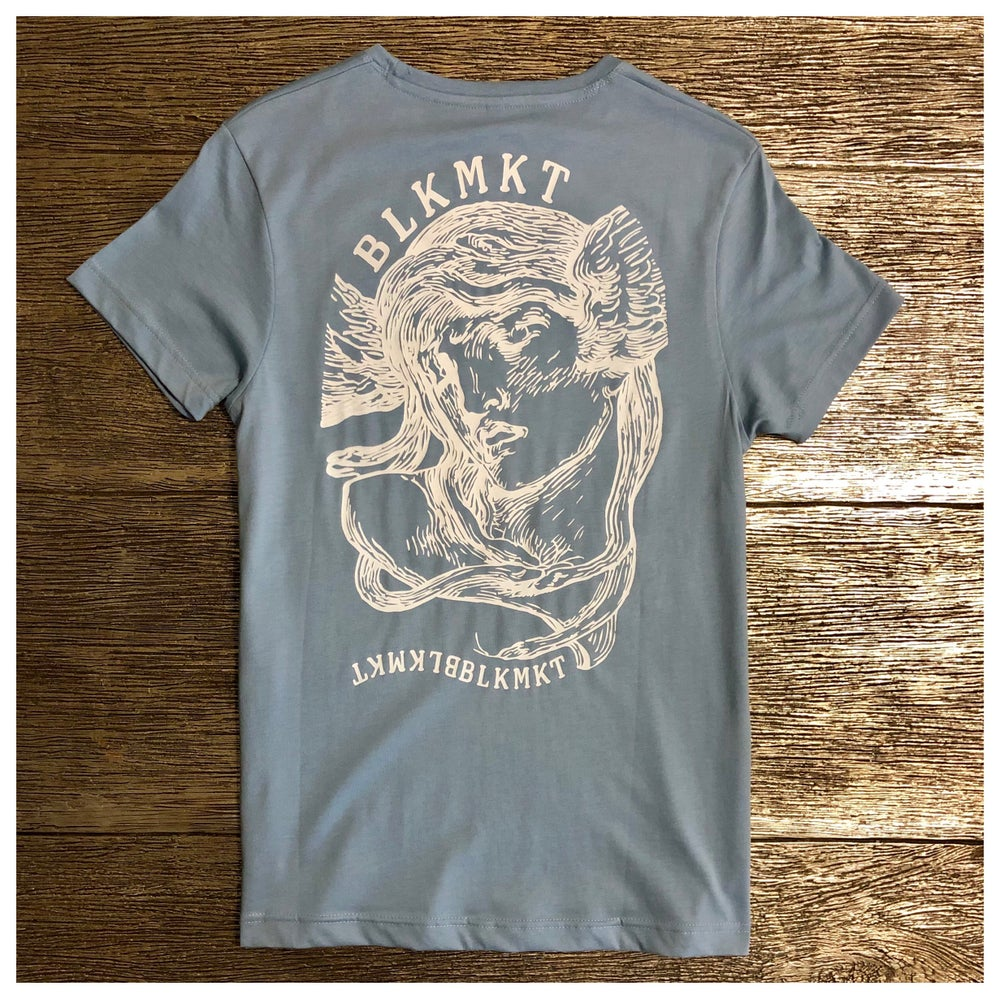 "Image of SUPIMA® COTTON CREWNECK SHORT SLEEVE T-SHIRT ""MERCURY BLUE"" BLKMKT"