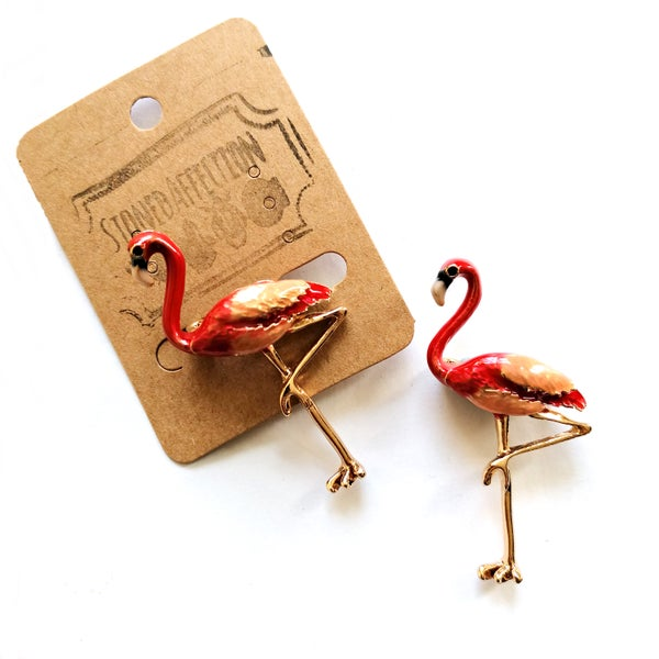 Image of Flamingo Enamel Brooch Pin