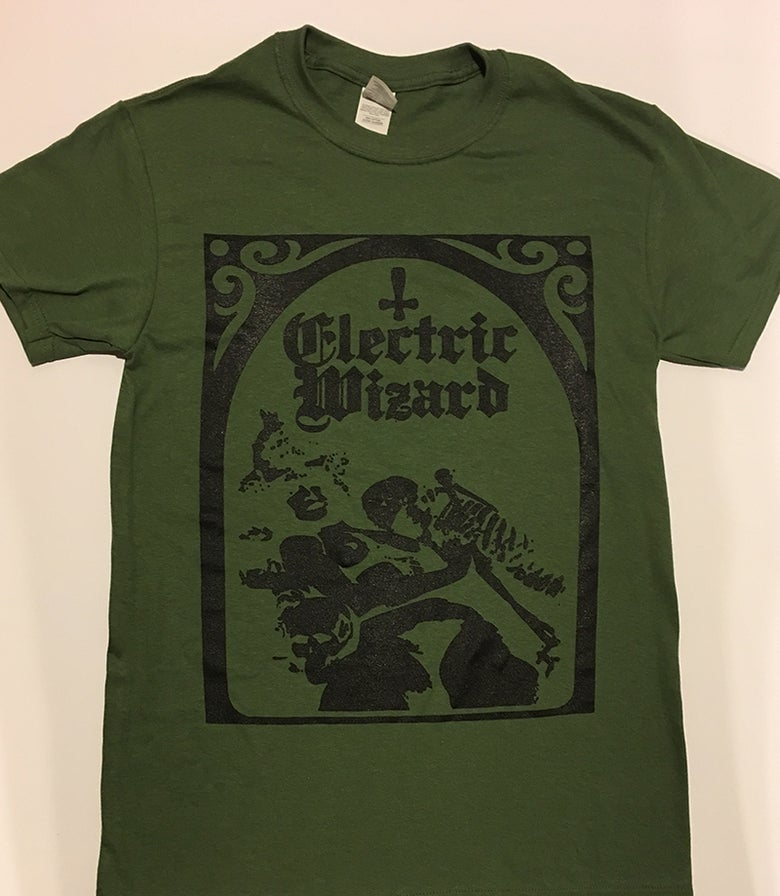 "Image of Electric Wizard "" Legalise Drugs and Murder "" Green T shirt"