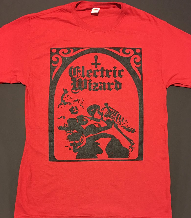 "Image of Electric Wizard "" Legalise Drugs and Murder "" Red T-shirt"