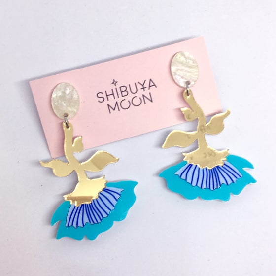 Image of Flora Dangles (Turquoise/Pearl/Gold)