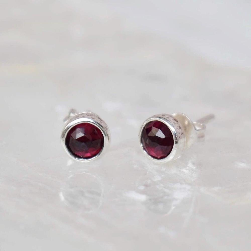 Image of Red Garnet rose cut silver earrings