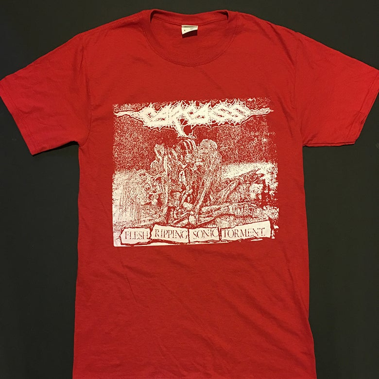 "Image of Carcass "" Flesh Ripping Sonic Torment ""  Red T-shirt"