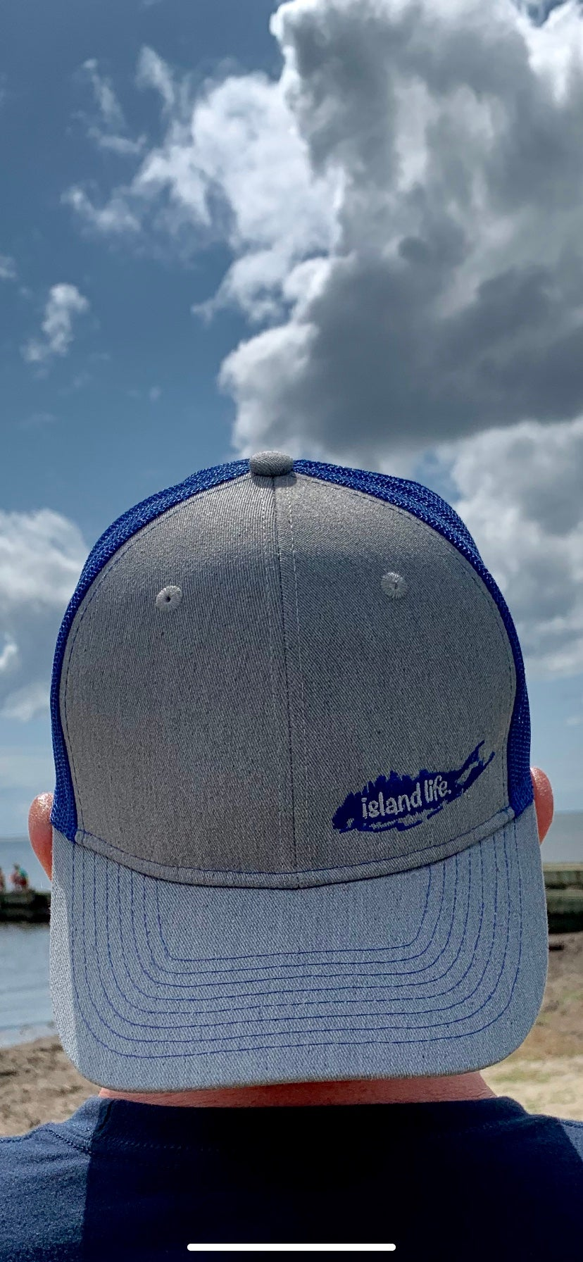 Image of Island Life Logo SnapBack Trucker Hat - Grey/Royal