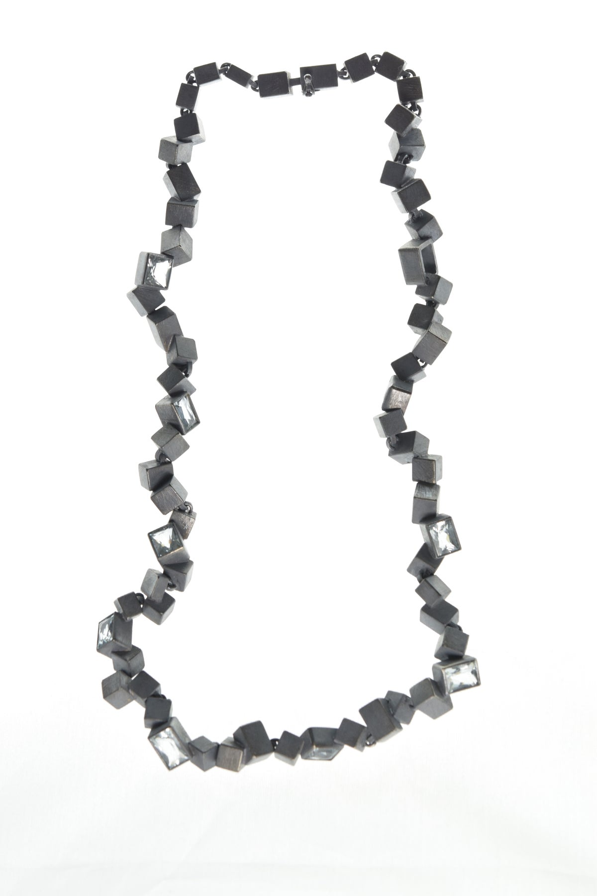 Intersecting Cube Necklace. Aquamarine set in oxidised silver