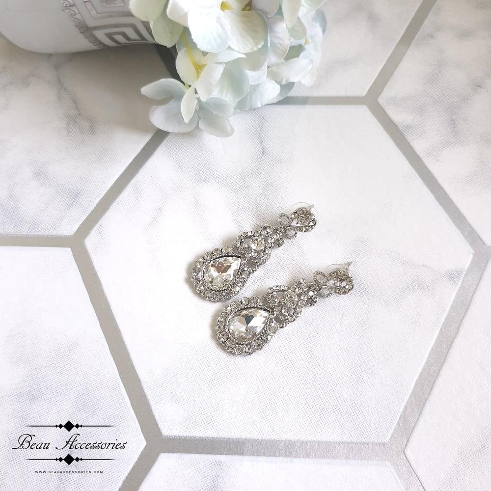 Image of Crystal Drop Earrings (Silver)