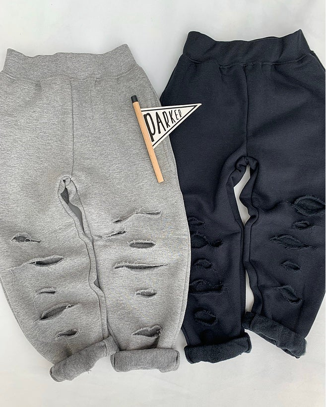 Image of Black Distressed Joggers