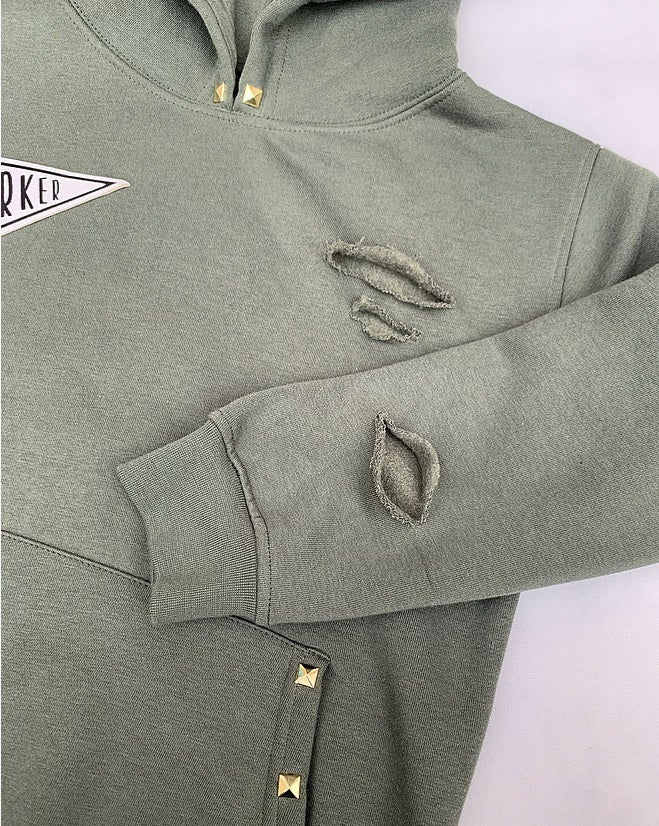 Image of Khaki Studded Distressed Hoodie