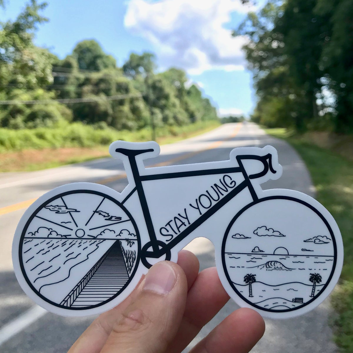 Image of Road Bike Sticker (White Background)