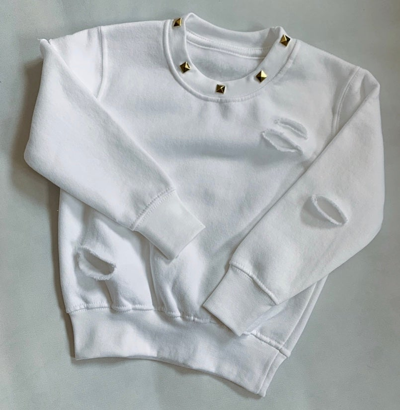 Image of White studded Distressed Sweater