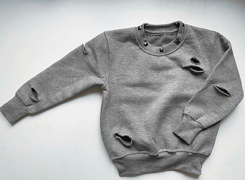 Image of Grey Studded Distressed Sweater
