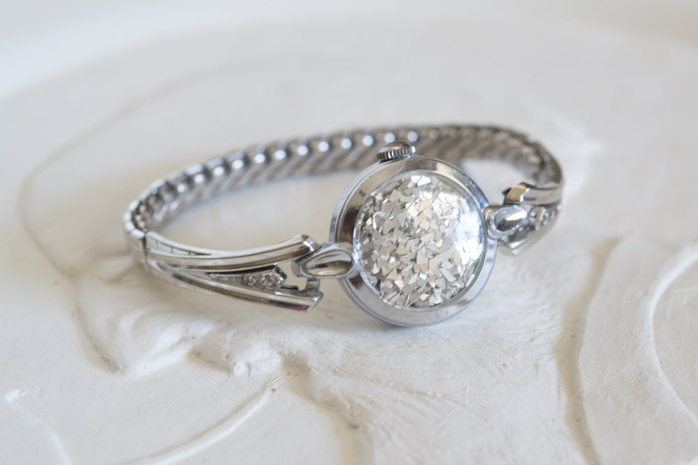 Image of Silver diamond accent fairydust band