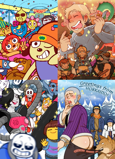 "Image of Fanart Prints - 5"" x 7"" - Undertale, Parappa the Rapper, Delicious in Dungeon, Golden Kamuy!"