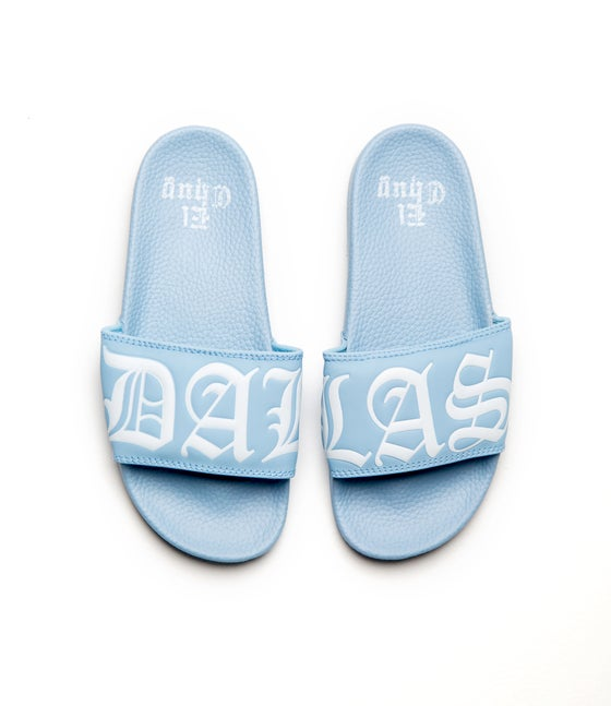 Image of DALLAS BB BLUE SLIDES (NOW SHIPPING)