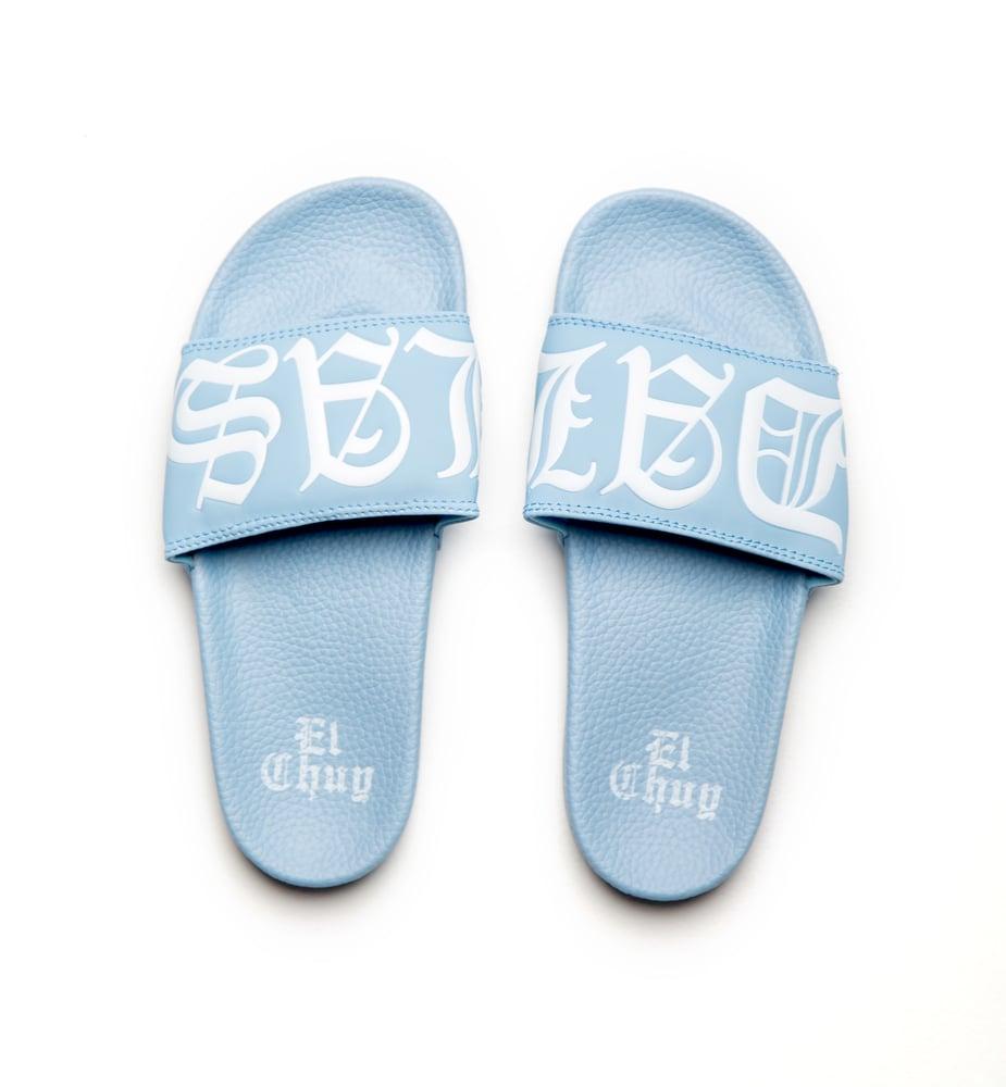 Image of DALLAS BB BLUE SLIDES (PREORDER LIMITED)