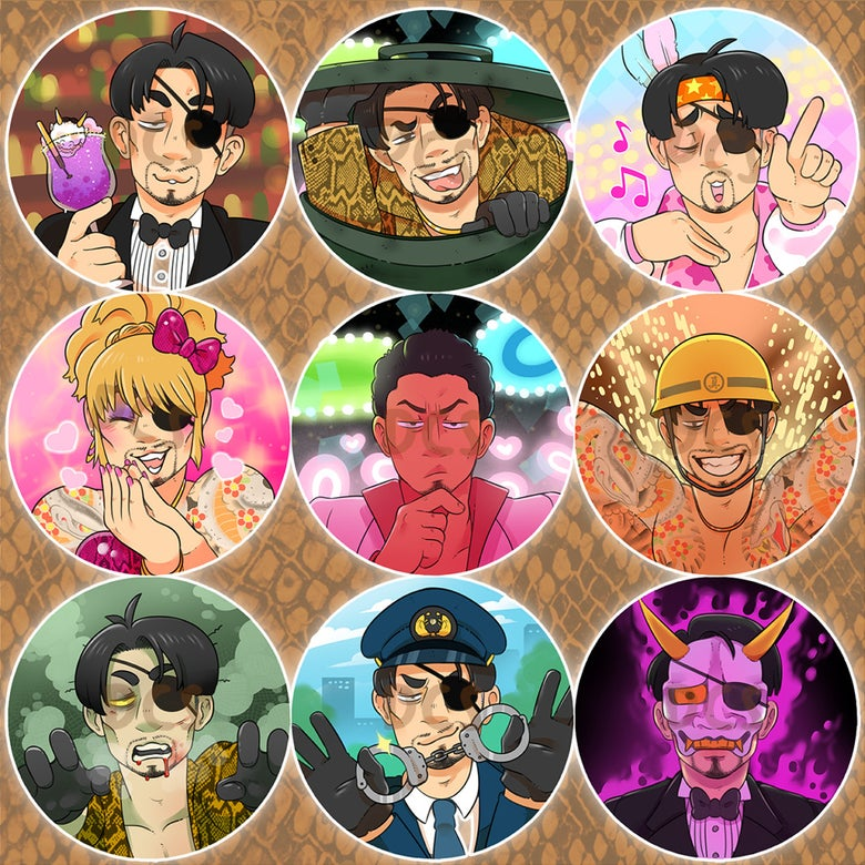 Image of Majima Everywhere - Yakuza - Pin-back Buttons