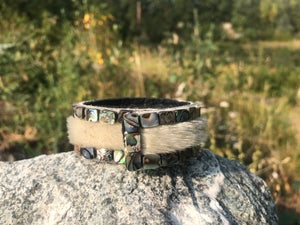 Image of Sealskin and abalone snap bracelet