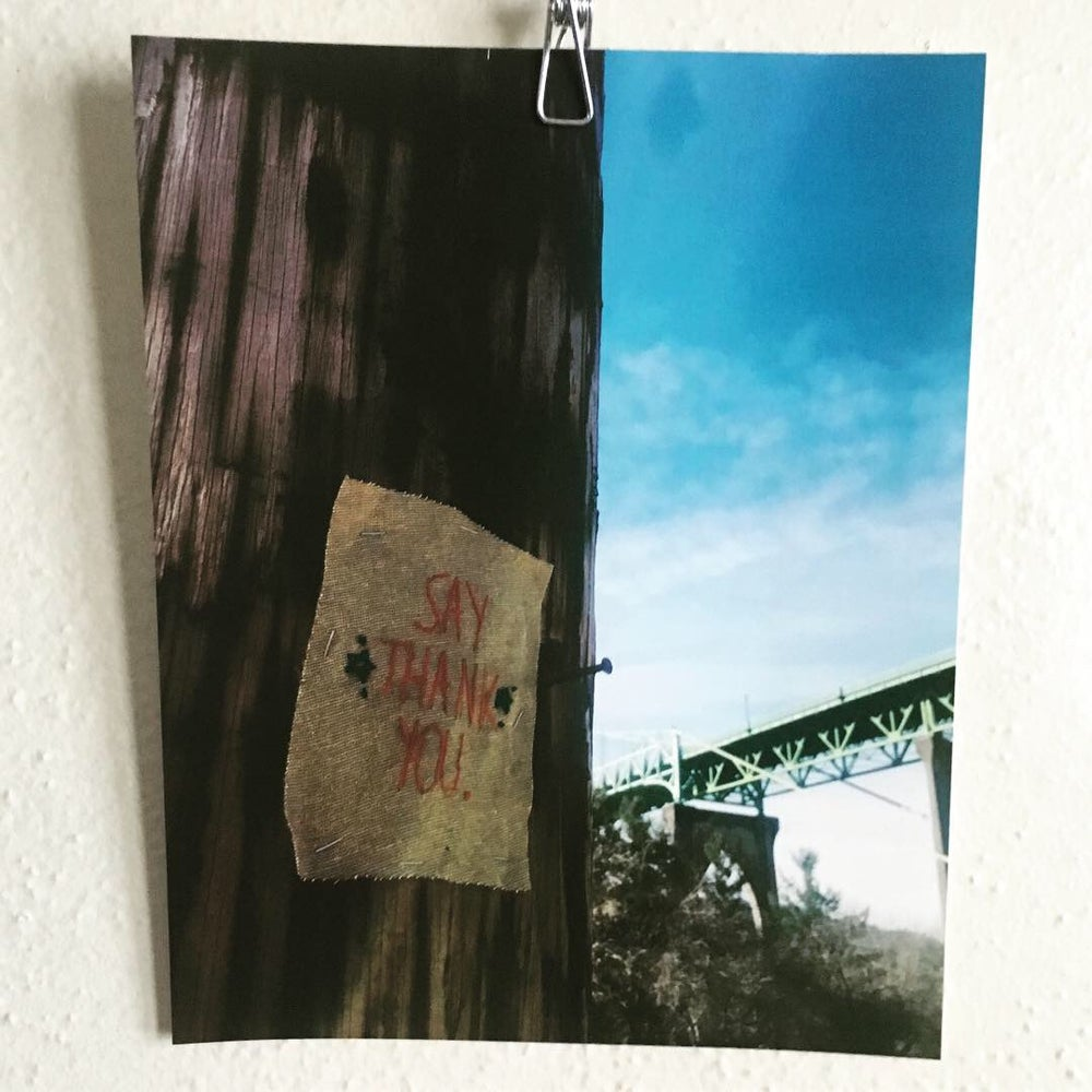 Image of Say thank you - Horrible & Wonderful Project Embroidered Street art photo print