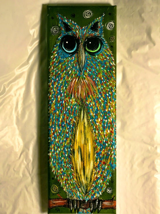 Image of Kevin Seconds ORIGINAL 12x4 acrylic/canvas, '1 Owl Looking For Work'