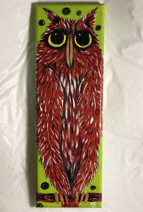 Image of Kevin Seconds ORIGINAL 12x4 acrylic/canvas, '1 Owl Looking For Love'