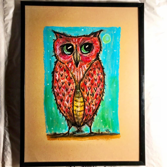 Image of Kevin Seconds ORIGINAL 9x12 charcoal/pastels, 'Owl Pastel'