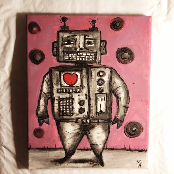 Image of Kevin Seconds ORIGINAL 8x10 acrylic/charcoal/canvas, 'Charcoal Robot'