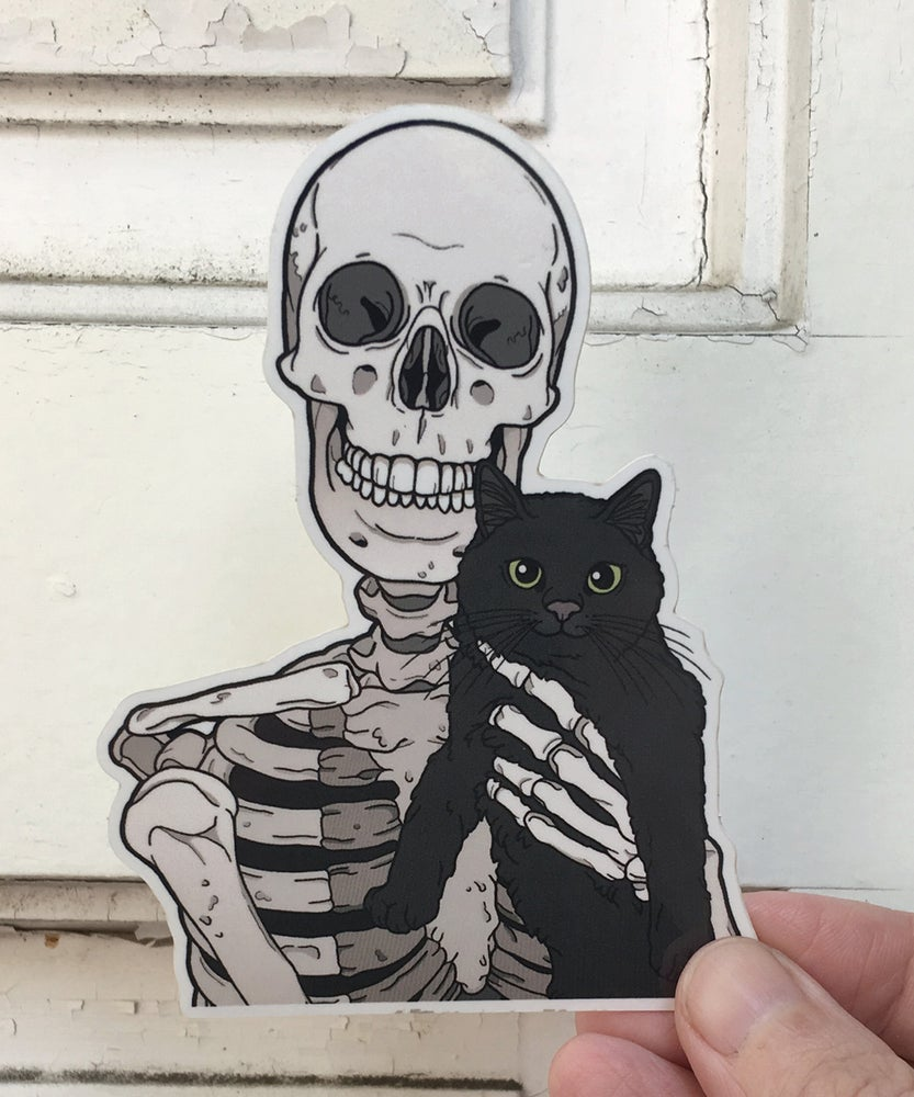 Image of Black cat friend vinyl sticker