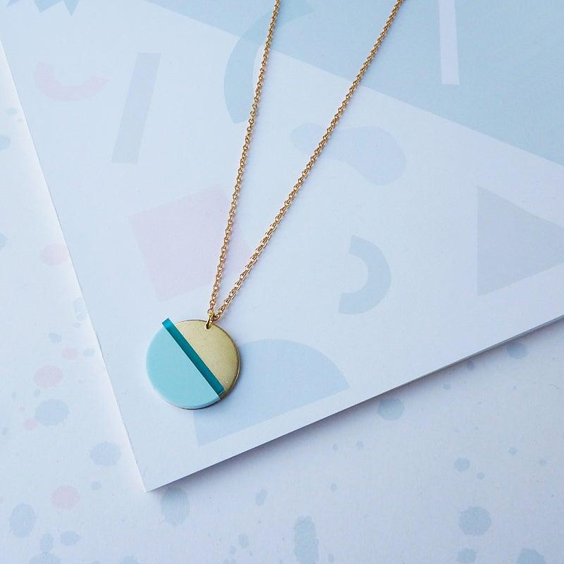 Image of Horizon Necklace Teal & Pale Blue