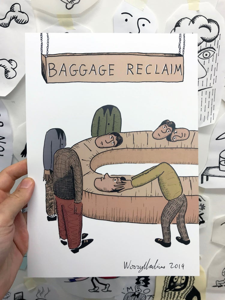 Image of BAGGAGE RECLAIM - SIGNED A4 PRINT