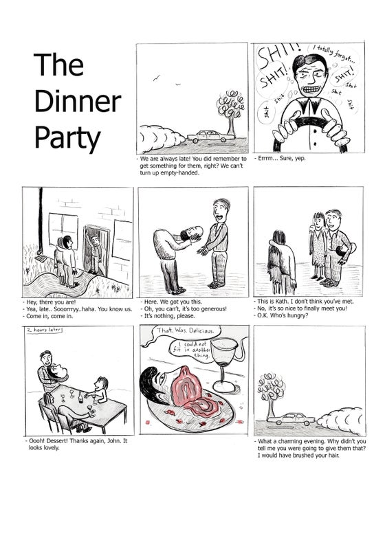Image of DINNER PARTY - SIGNED A4 PRINT