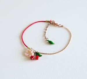 Image of Bracelet Cerises Fleur de Cerisier - Doré Or Rose